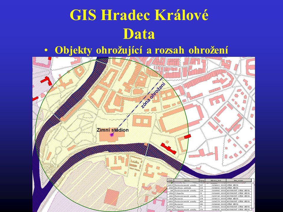 GIS Hradec Králové Data Objekty ohrožující a rozsah ohrožení