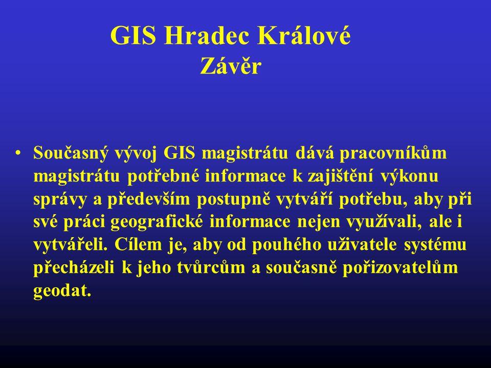 GIS Hradec Králové Závěr Současný vývoj GIS magistrátu dává pracovníkům magistrátu potřebné informace k zajištění výkonu správy a především postupně v