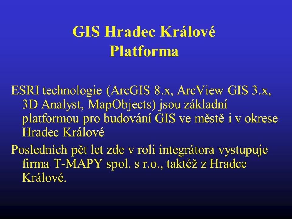 GIS Hradec Králové Platforma ESRI technologie (ArcGIS 8.x, ArcView GIS 3.x, 3D Analyst, MapObjects) jsou základní platformou pro budování GIS ve městě