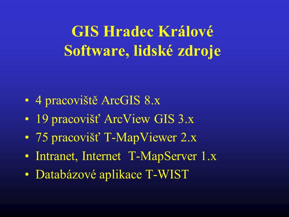 GIS Hradec Králové Software, lidské zdroje 4 pracoviště ArcGIS 8.x 19 pracovišť ArcView GIS 3.x 75 pracovišť T-MapViewer 2.x Intranet, Internet T-MapS