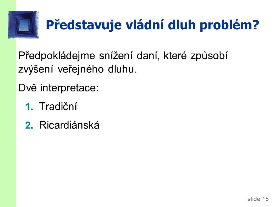 slide 15 Představuje vládní dluh problém.