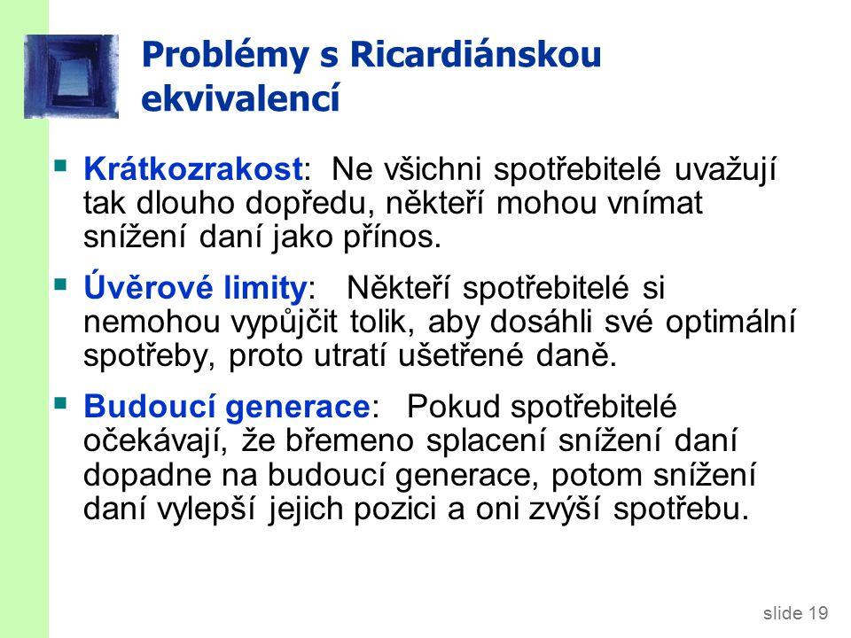 slide 19 Problémy s Ricardiánskou ekvivalencí  Krátkozrakost: Ne všichni spotřebitelé uvažují tak dlouho dopředu, někteří mohou vnímat snížení daní jako přínos.