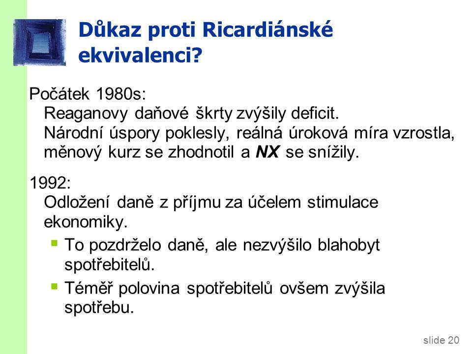slide 20 Důkaz proti Ricardiánské ekvivalenci.