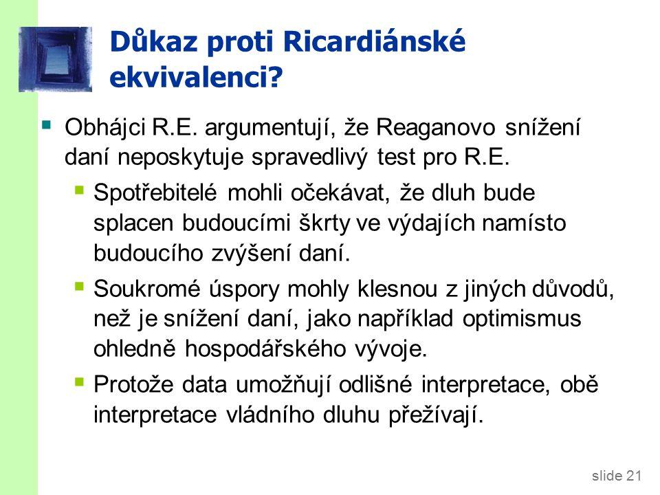 slide 21 Důkaz proti Ricardiánské ekvivalenci.  Obhájci R.E.