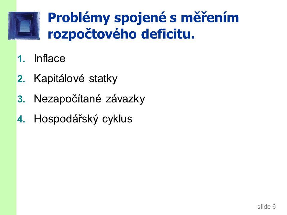 slide 6 Problémy spojené s měřením rozpočtového deficitu.