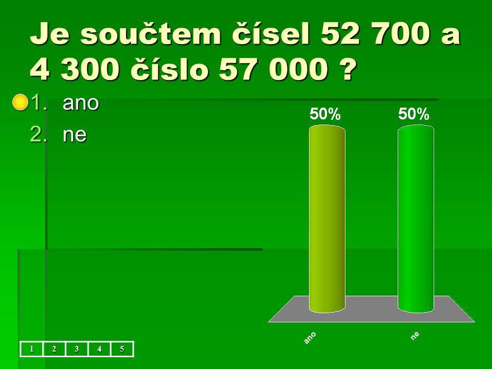 Je součtem čísel 52 700 a 4 300 číslo 57 000 12345 1.ano 2.ne