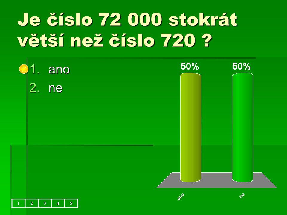 Je číslo 72 000 stokrát větší než číslo 720 12345 1.ano 2.ne