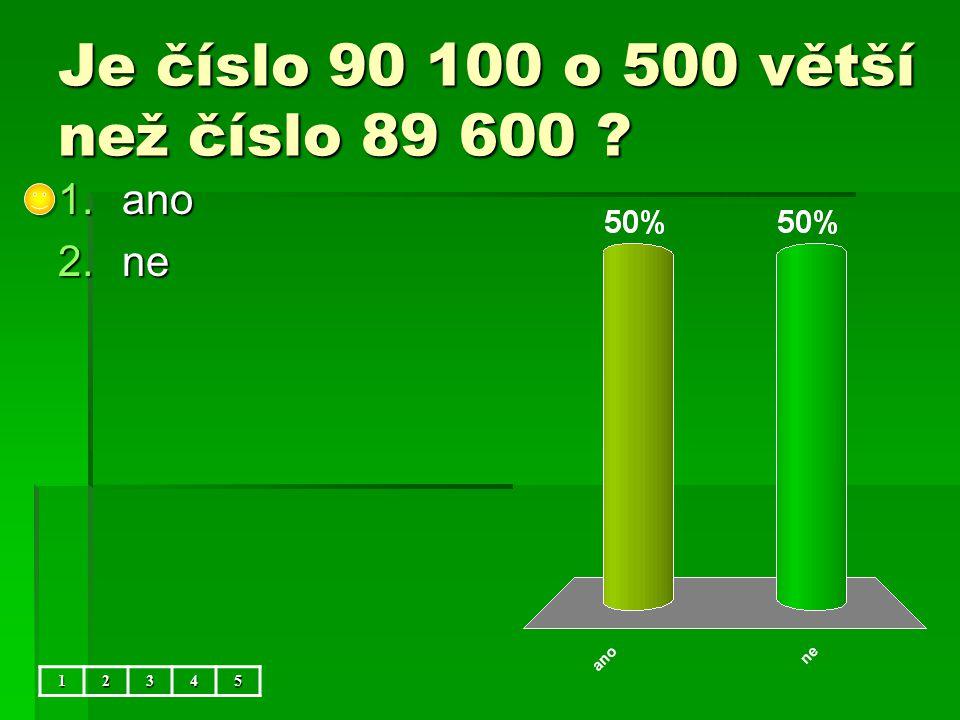 Je číslo 90 100 o 500 větší než číslo 89 600 12345 1.ano 2.ne