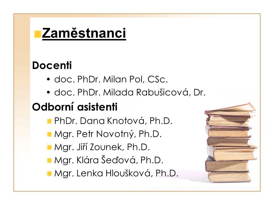 Zaměstnanci Docenti doc. PhDr. Milan Pol, CSc. doc. PhDr. Milada Rabušicová, Dr. Odborní asistenti PhDr. Dana Knotová, Ph.D. Mgr. Petr Novotný, Ph.D.