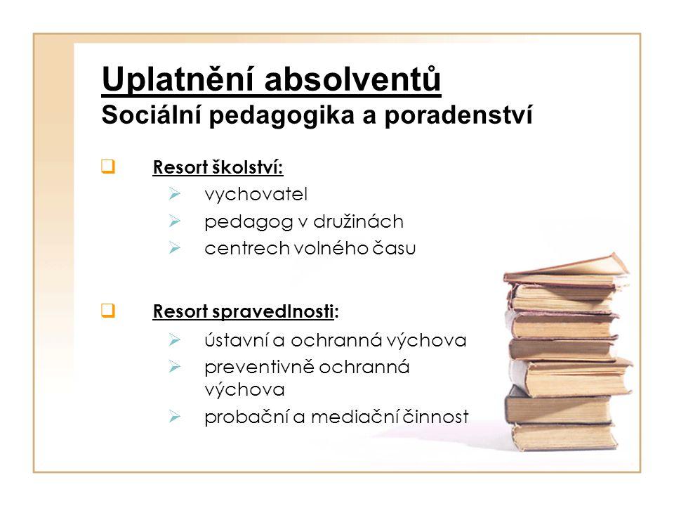 Uplatnění absolventů Sociální pedagogika a poradenství  Resort zdravotnictví:  pedagog a vychovatel v krizových centrech a rehabilitačních zařízeních  Resort sociálních věcí :  soc.