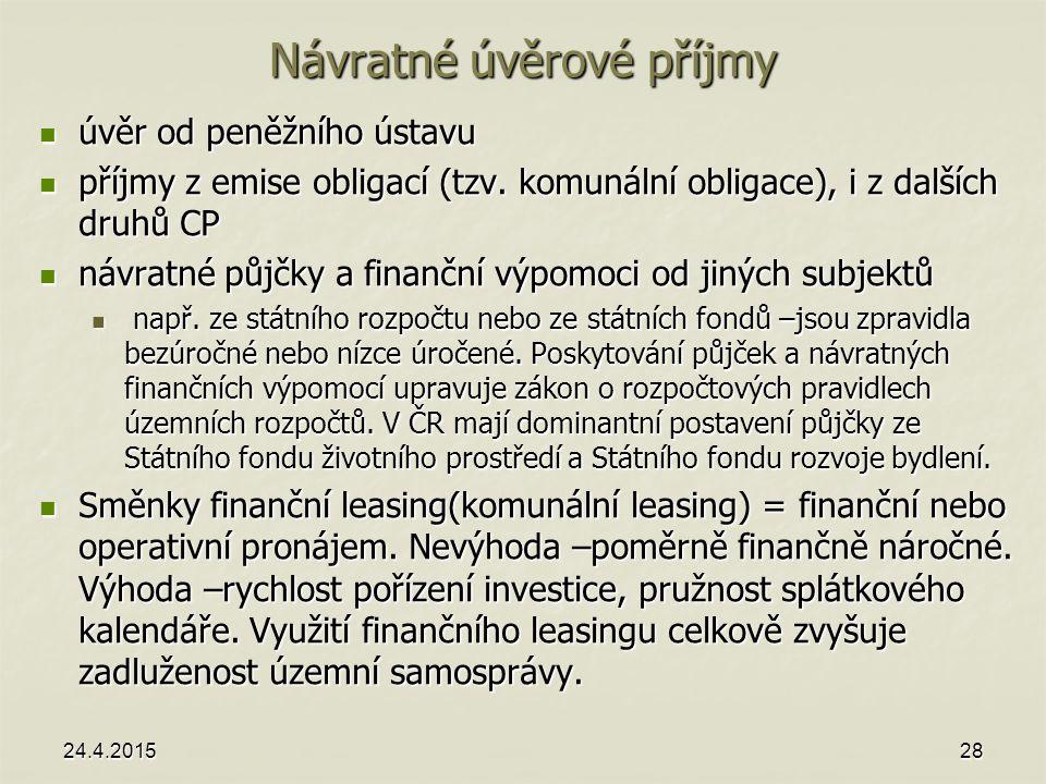 Návratné úvěrové příjmy úvěr od peněžního ústavu úvěr od peněžního ústavu příjmy z emise obligací (tzv. komunální obligace), i z dalších druhů CP příj