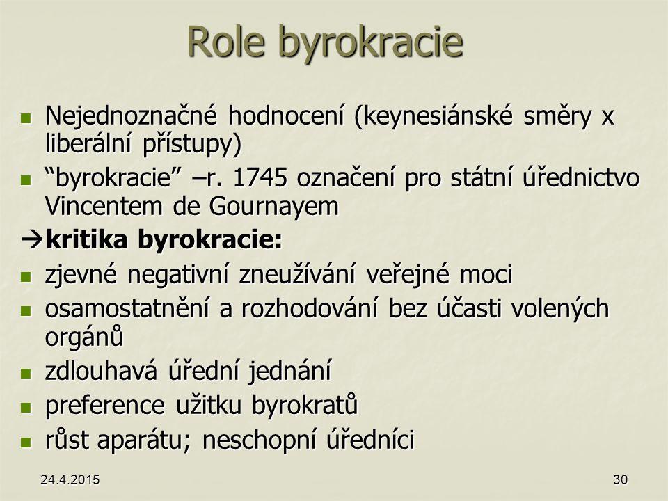 24.4.201530 Role byrokracie Nejednoznačné hodnocení (keynesiánské směry x liberální přístupy) Nejednoznačné hodnocení (keynesiánské směry x liberální