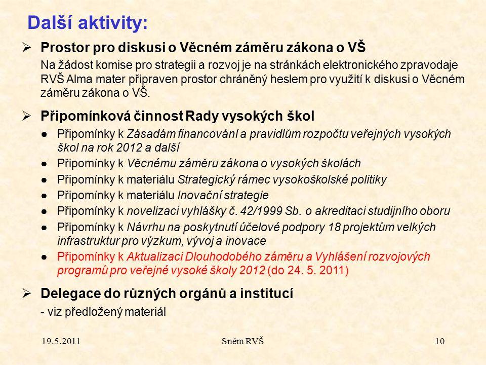 10 Další aktivity:  Prostor pro diskusi o Věcném záměru zákona o VŠ Na žádost komise pro strategii a rozvoj je na stránkách elektronického zpravodaje