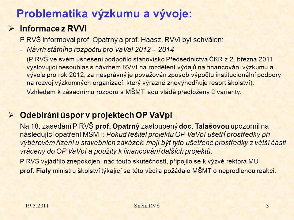 Sněm RVŠ3 Problematika výzkumu a vývoje:  Informace z RVVI P RVŠ informoval prof. Opatrný a prof. Haasz. RVVI byl schválen: - Návrh státního rozpočtu