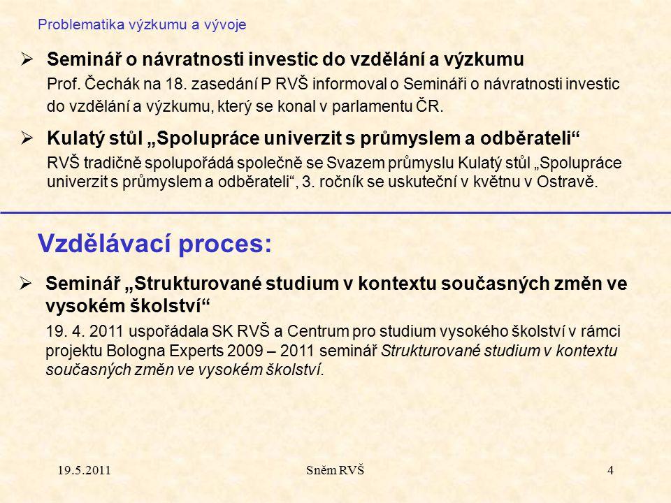 Sněm RVŠ4 Problematika výzkumu a vývoje  Seminář o návratnosti investic do vzdělání a výzkumu Prof. Čechák na 18. zasedání P RVŠ informoval o Seminář