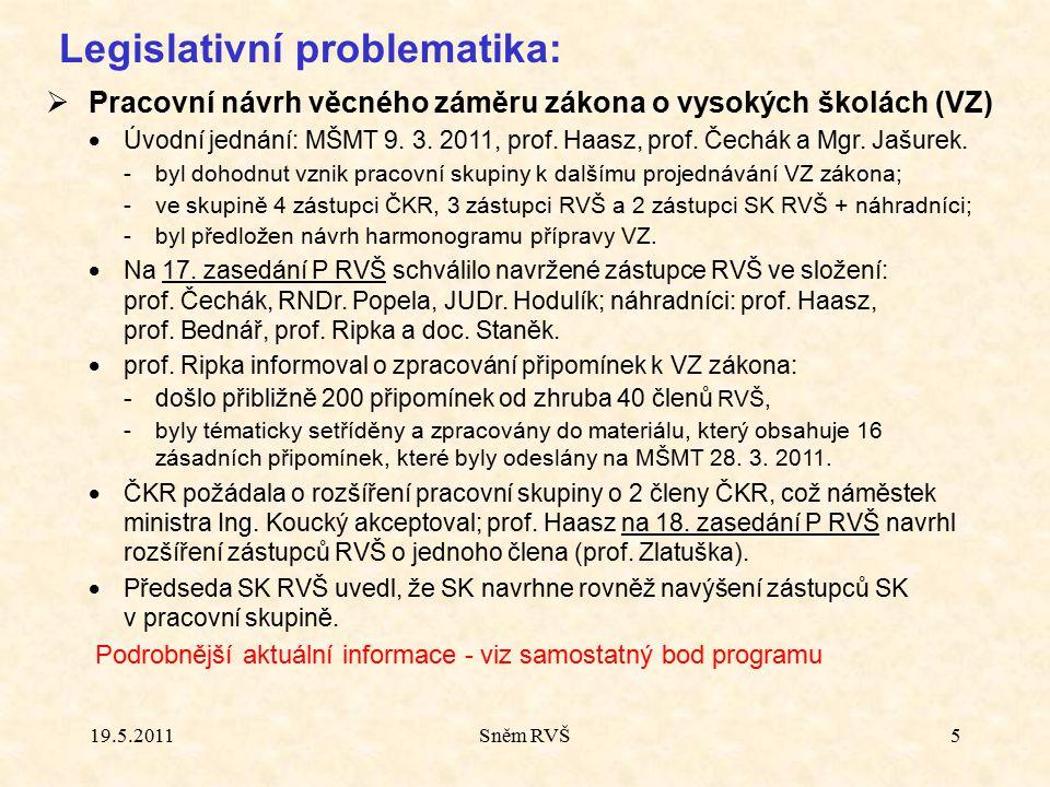 Sněm RVŠ5 Legislativní problematika:  Pracovní návrh věcného záměru zákona o vysokých školách (VZ)  Úvodní jednání: MŠMT 9. 3. 2011, prof. Haasz, pr