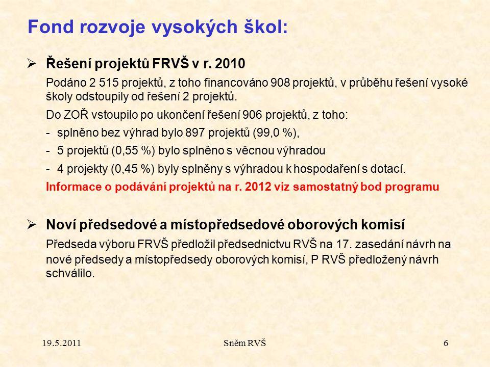 Sněm RVŠ6 Fond rozvoje vysokých škol:  Řešení projektů FRVŠ v r. 2010 Podáno 2 515 projektů, z toho financováno 908 projektů, v průběhu řešení vysoké