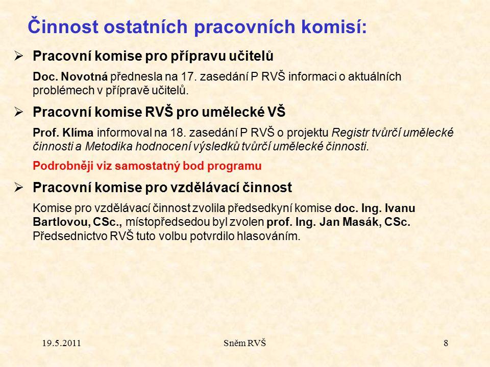 Další aktivity:  Tiskové konference po jednáních RVŠ Od 16.
