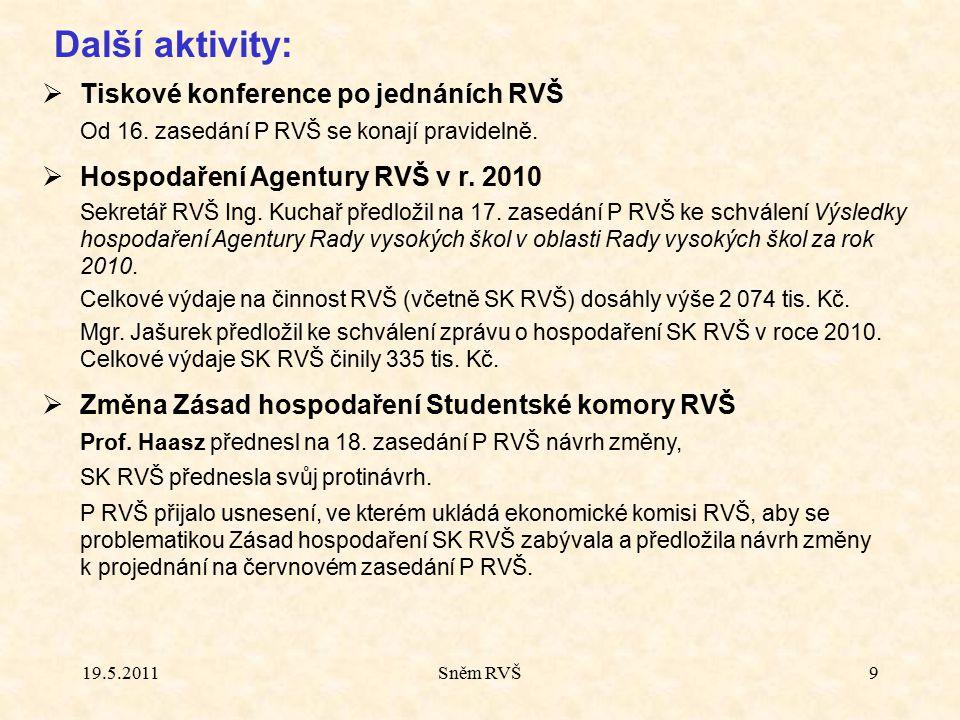 Další aktivity:  Tiskové konference po jednáních RVŠ Od 16. zasedání P RVŠ se konají pravidelně.  Hospodaření Agentury RVŠ v r. 2010 Sekretář RVŠ In