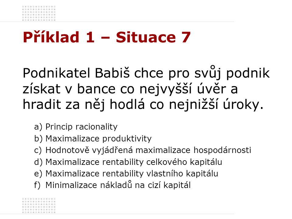 Příklad 1 – Situace 7 Podnikatel Babiš chce pro svůj podnik získat v bance co nejvyšší úvěr a hradit za něj hodlá co nejnižší úroky. a)Princip raciona