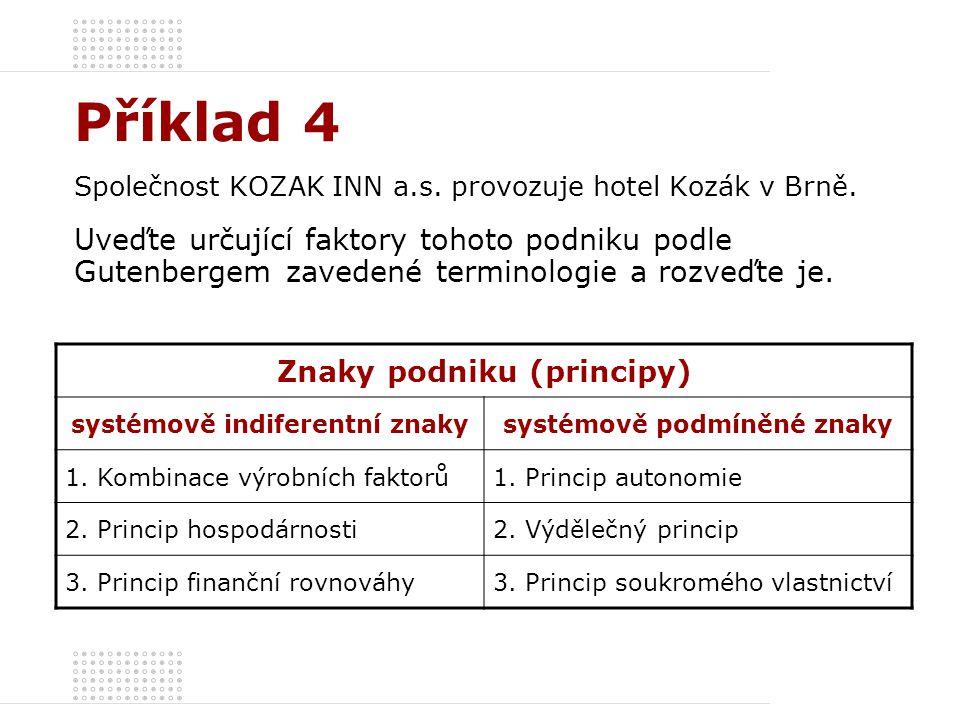 Příklad 4 Společnost KOZAK INN a.s. provozuje hotel Kozák v Brně. Uveďte určující faktory tohoto podniku podle Gutenbergem zavedené terminologie a roz