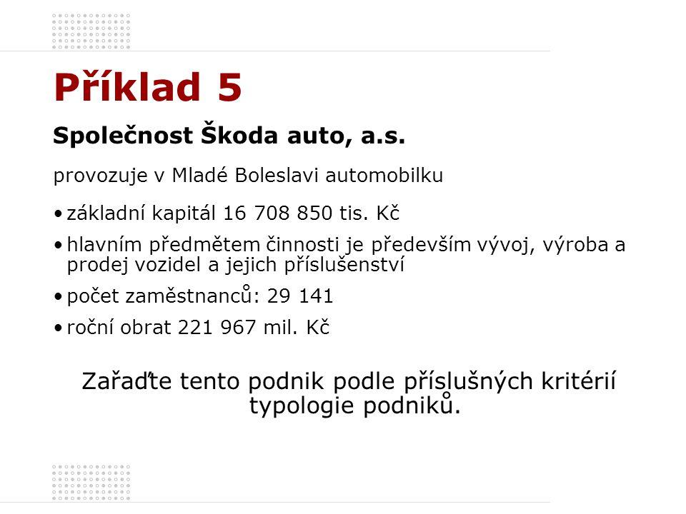 Příklad 5 Společnost Škoda auto, a.s. provozuje v Mladé Boleslavi automobilku základní kapitál 16 708 850 tis. Kč hlavním předmětem činnosti je předev