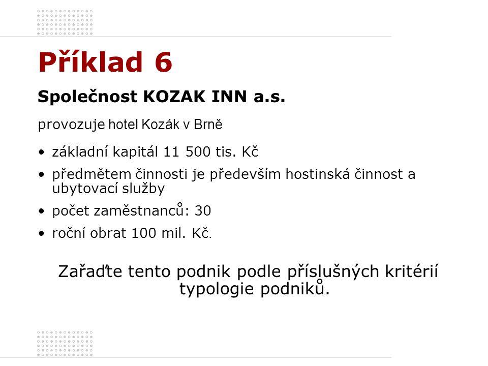 Příklad 6 Společnost KOZAK INN a.s. provozuje hotel Kozák v Brně základní kapitál 11 500 tis. Kč předmětem činnosti je především hostinská činnost a u