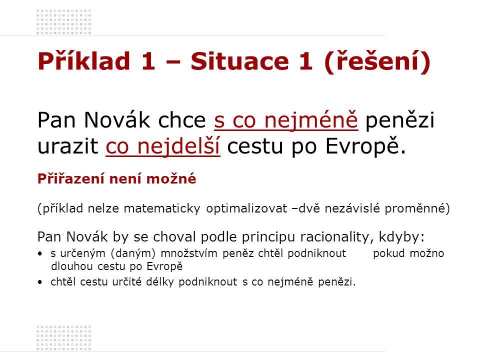 Příklad 1 – Situace 1 (řešení) Pan Novák chce s co nejméně penězi urazit co nejdelší cestu po Evropě. Přiřazení není možné (příklad nelze matematicky