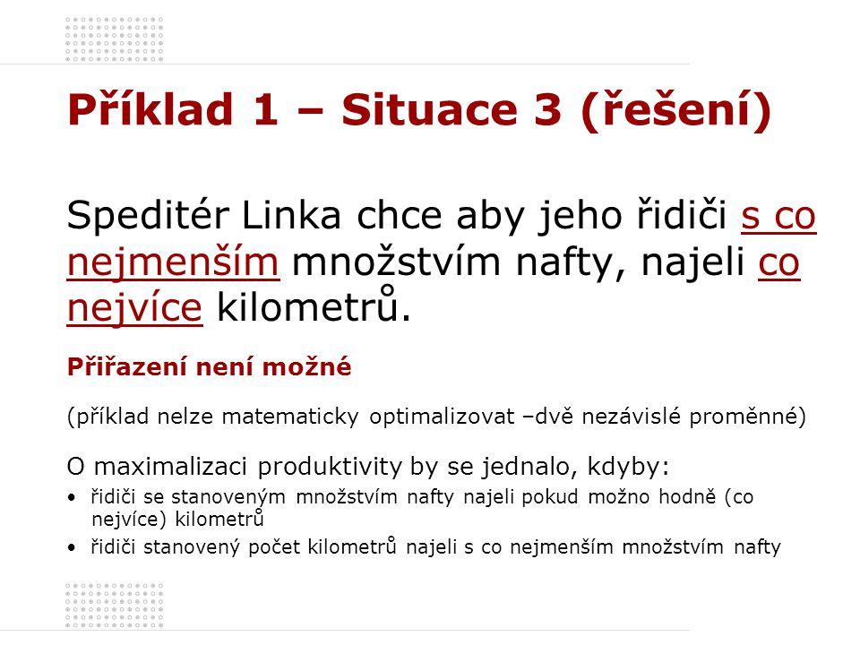 Příklad 1 – Situace 3 (řešení) Speditér Linka chce aby jeho řidiči s co nejmenším množstvím nafty, najeli co nejvíce kilometrů. Přiřazení není možné (