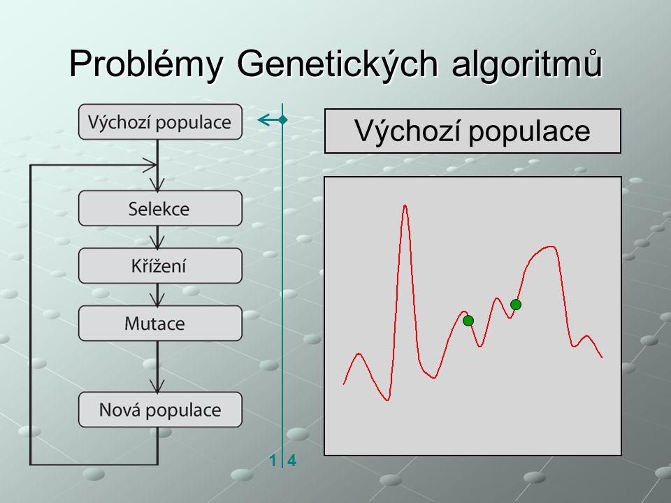 Problémy Genetických algoritmů Výchozí populace 1 4
