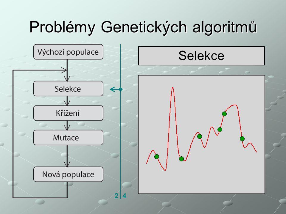 Problémy Genetických algoritmů Selekce 2 4