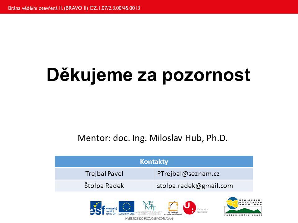 Děkujeme za pozornost Kontakty Trejbal PavelPTrejbal@seznam.cz Štolpa Radekstolpa.radek@gmail.com Mentor: doc. Ing. Miloslav Hub, Ph.D.