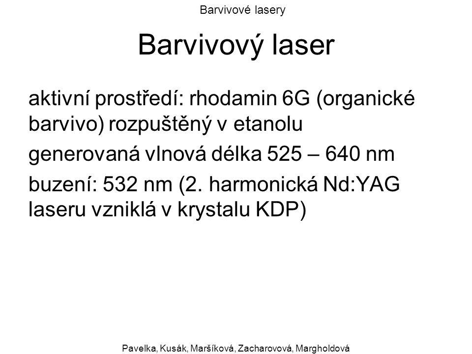 Barvivové lasery Pavelka, Kusák, Maršíková, Zacharovová, Margholdová Barvivový laser aktivní prostředí: rhodamin 6G (organické barvivo) rozpuštěný v e