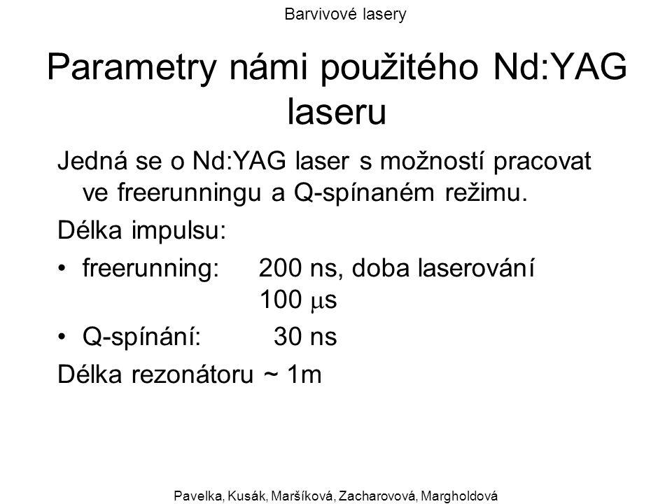 Barvivové lasery Pavelka, Kusák, Maršíková, Zacharovová, Margholdová Parametry námi použitého Nd:YAG laseru Jedná se o Nd:YAG laser s možností pracova