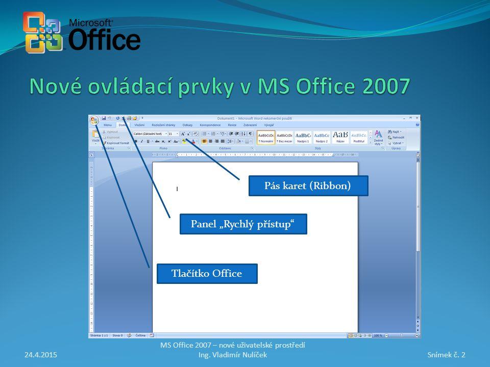 24.4.2015Snímek č. 3 MS Office 2007 – nové uživatelské prostředí Ing. Vladimír Nulíček