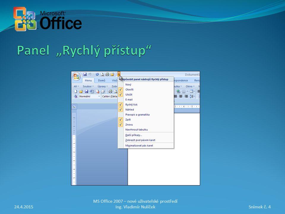 24.4.2015Snímek č. 4 MS Office 2007 – nové uživatelské prostředí Ing. Vladimír Nulíček