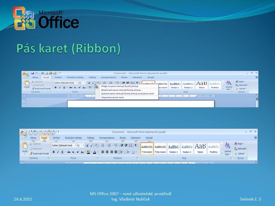 24.4.2015Snímek č. 5 MS Office 2007 – nové uživatelské prostředí Ing. Vladimír Nulíček