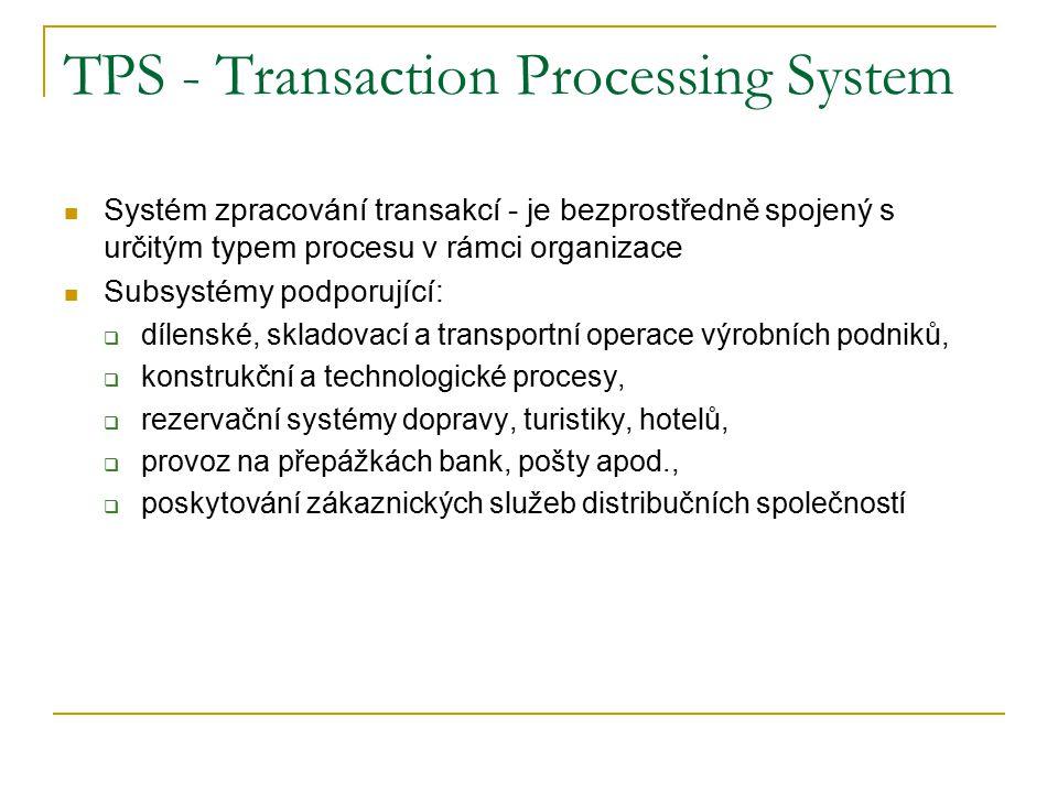 TPS - Transaction Processing System Systém zpracování transakcí - je bezprostředně spojený s určitým typem procesu v rámci organizace Subsystémy podporující:  dílenské, skladovací a transportní operace výrobních podniků,  konstrukční a technologické procesy,  rezervační systémy dopravy, turistiky, hotelů,  provoz na přepážkách bank, pošty apod.,  poskytování zákaznických služeb distribučních společností