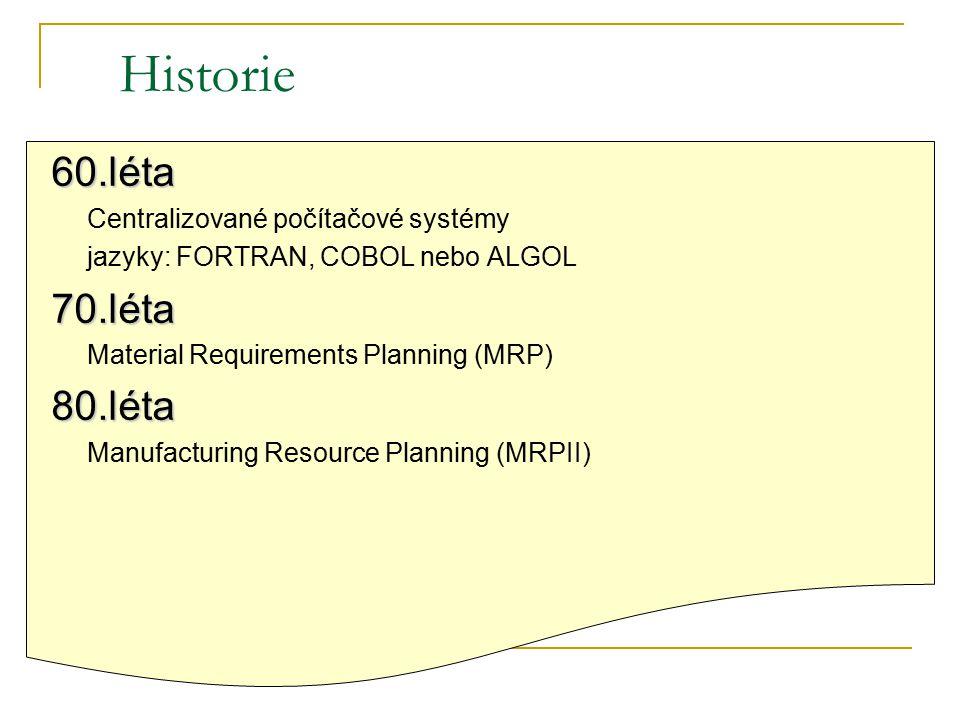 Historie 60.léta Centralizované počítačové systémy jazyky: FORTRAN, COBOL nebo ALGOL70.léta Material Requirements Planning (MRP)80.léta Manufacturing Resource Planning (MRPII)