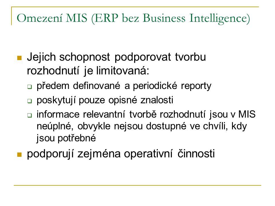 Omezení MIS (ERP bez Business Intelligence) Jejich schopnost podporovat tvorbu rozhodnutí je limitovaná:  předem definované a periodické reporty  poskytují pouze opisné znalosti  informace relevantní tvorbě rozhodnutí jsou v MIS neúplné, obvykle nejsou dostupné ve chvíli, kdy jsou potřebné podporují zejména operativní činnosti