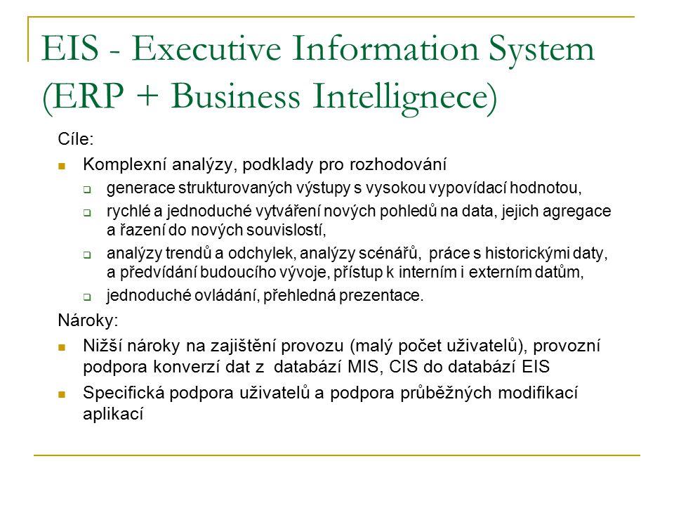 EIS - Executive Information System (ERP + Business Intellignece) Cíle: Komplexní analýzy, podklady pro rozhodování  generace strukturovaných výstupy s vysokou vypovídací hodnotou,  rychlé a jednoduché vytváření nových pohledů na data, jejich agregace a řazení do nových souvislostí,  analýzy trendů a odchylek, analýzy scénářů, práce s historickými daty, a předvídání budoucího vývoje, přístup k interním i externím datům,  jednoduché ovládání, přehledná prezentace.