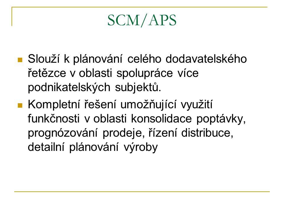 SCM/APS Slouží k plánování celého dodavatelského řetězce v oblasti spolupráce více podnikatelských subjektů. Kompletní řešení umožňující využití funkč