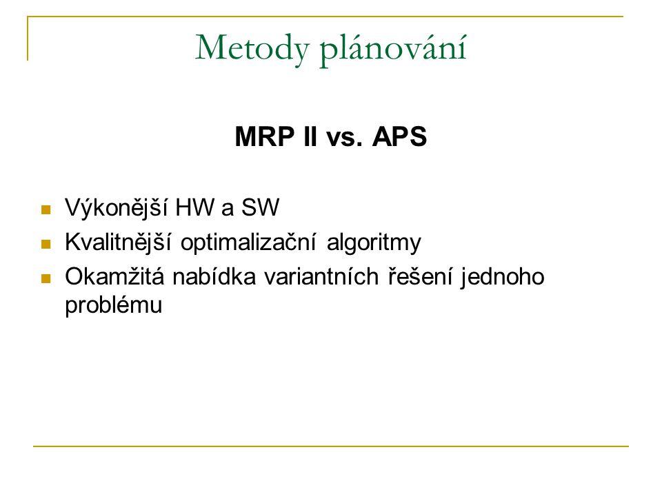 Metody plánování MRP II vs. APS Výkonější HW a SW Kvalitnější optimalizační algoritmy Okamžitá nabídka variantních řešení jednoho problému