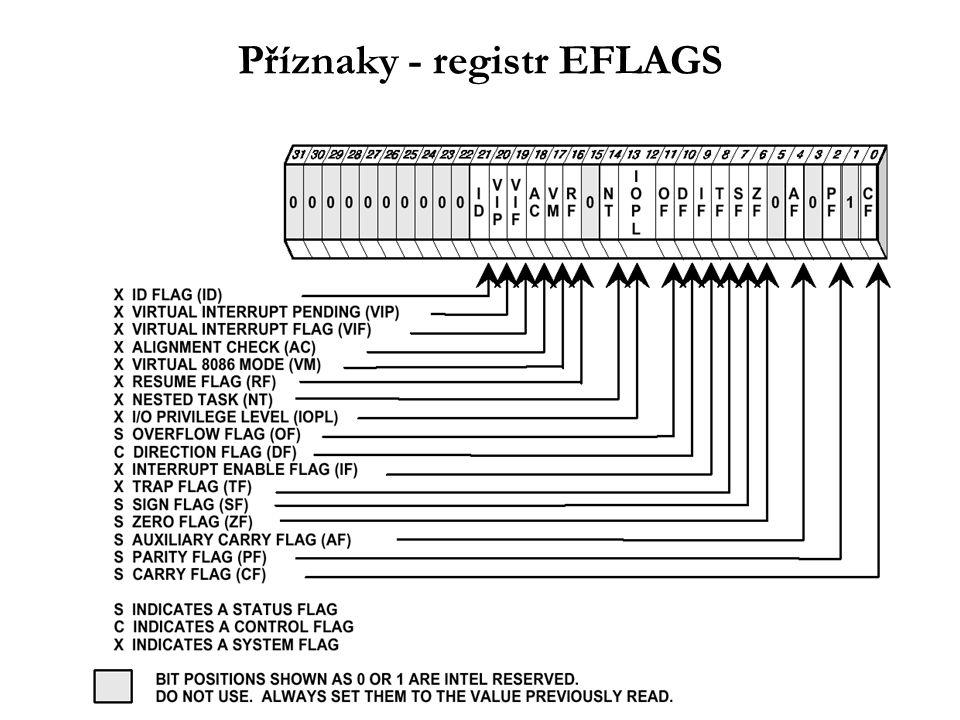 IS - rotace a posuny Nastavují příznaky v EFLAGS ( CF, PF, AF, ZF, SF, OF ) Počet bitů posunu určen přímým operandem nebo obsahem reg.