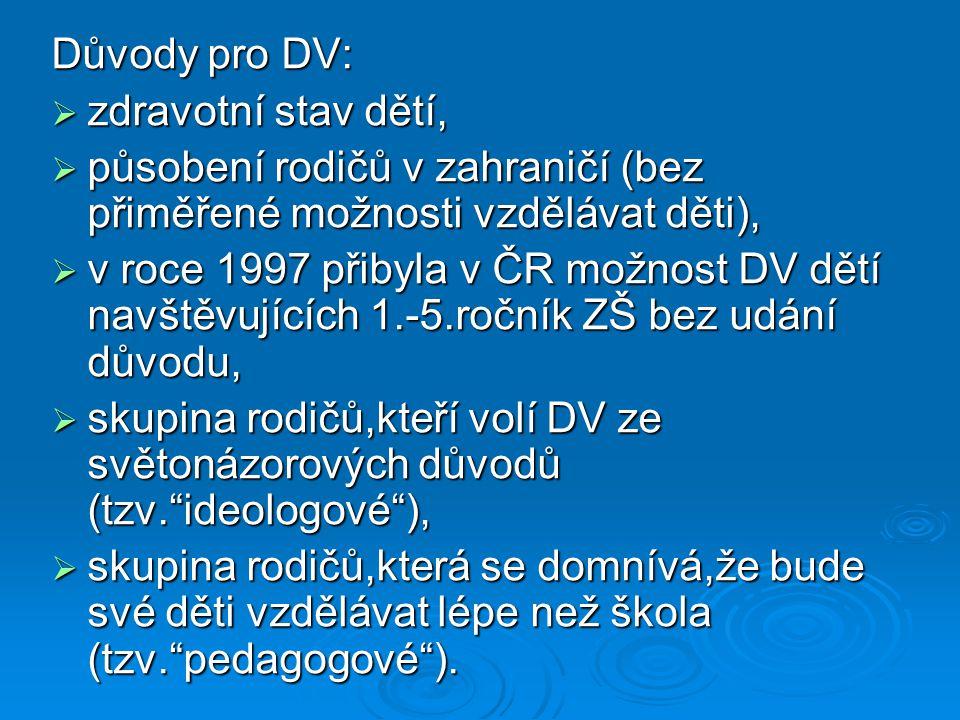 Nástin vývoje situace s DV v ČR:  od šk.