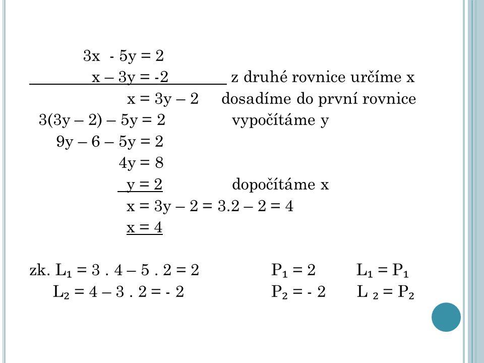 3x - 5y = 2 x – 3y = -2 z druhé rovnice určíme x x = 3y – 2 dosadíme do první rovnice 3(3y – 2) – 5y = 2 vypočítáme y 9y – 6 – 5y = 2 4y = 8 y = 2 dopočítáme x x = 3y – 2 = 3.2 – 2 = 4 x = 4 zk.