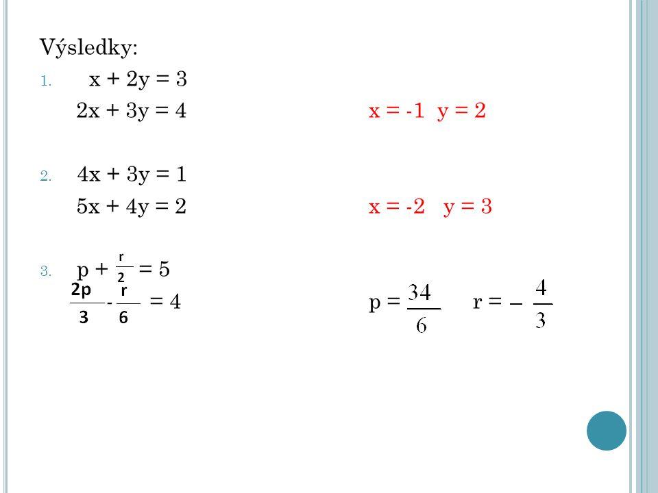 Výsledky: 1. x + 2y = 3 2x + 3y = 4 x = -1 y = 2 2. 4x + 3y = 1 5x + 4y = 2x = -2 y = 3 3. p + = 5 - = 4 p = r =