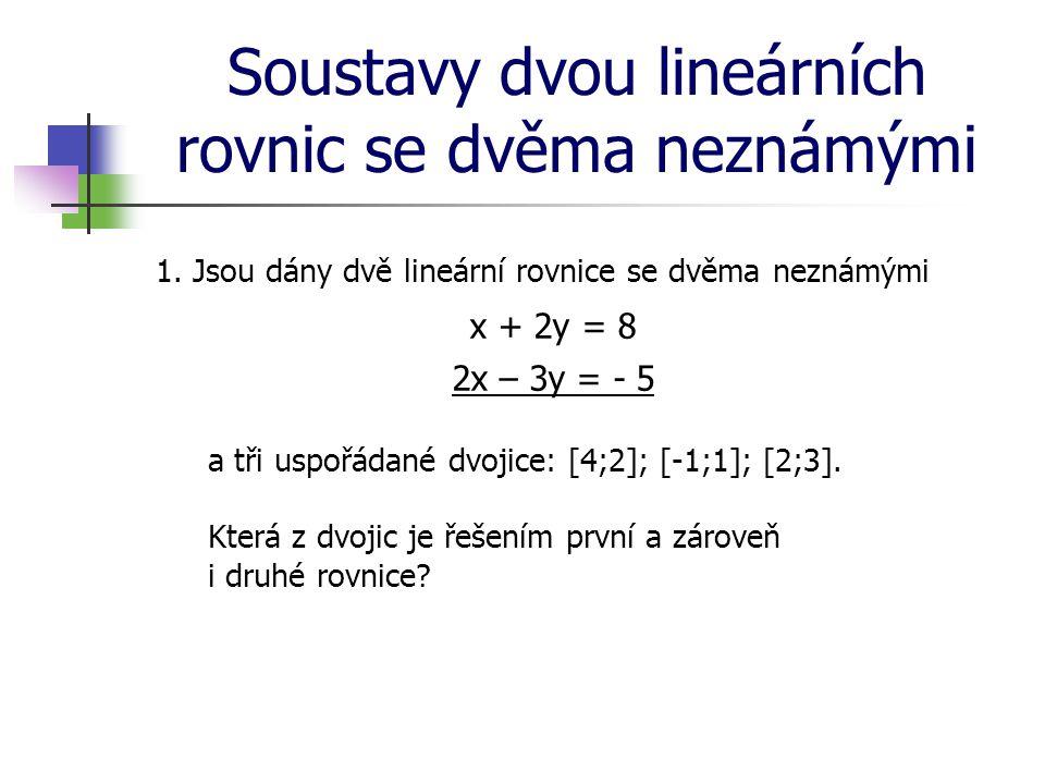 Soustavy dvou lineárních rovnic se dvěma neznámými 1. Jsou dány dvě lineární rovnice se dvěma neznámými x + 2y = 8 2x – 3y = - 5 a tři uspořádané dvoj