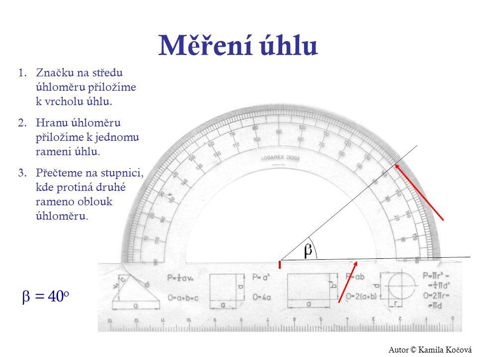 M ěř ení úhlu 1.Zna č ku na st ř edu úhlom ě ru p ř ilo ž íme k vrcholu úhlu.