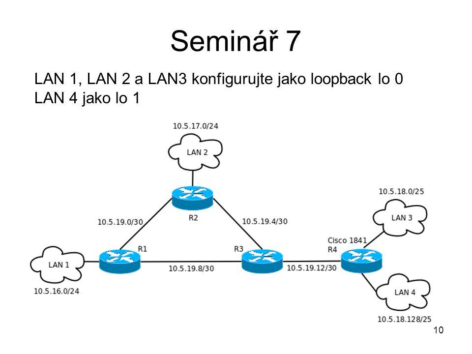 Seminář 7 10 LAN 1, LAN 2 a LAN3 konfigurujte jako loopback lo 0 LAN 4 jako lo 1